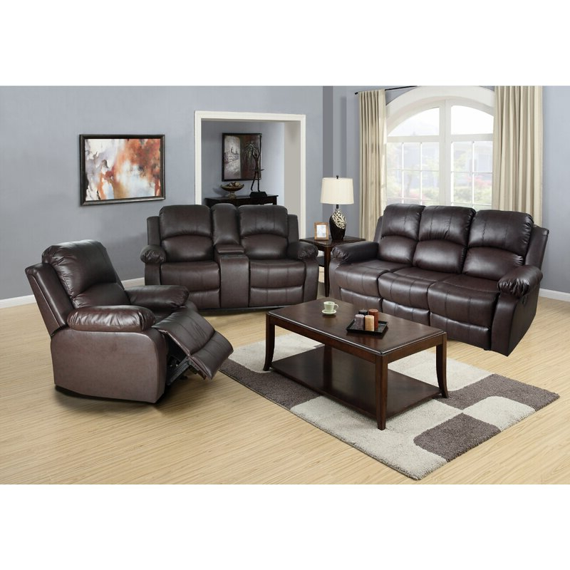 Popular Red Barrel Studio® Harton 3 Piece Faux Leather Reclining Throughout 3Pc Faux Leather Sectional Sofas Brown (View 23 of 25)