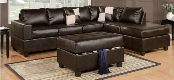 Poundex F7351 3 Pc Ivy Bronx Tamra Espresso Faux Leather Throughout Most Recently Released 3Pc Bonded Leather Upholstered Wooden Sectional Sofas Brown (View 14 of 25)