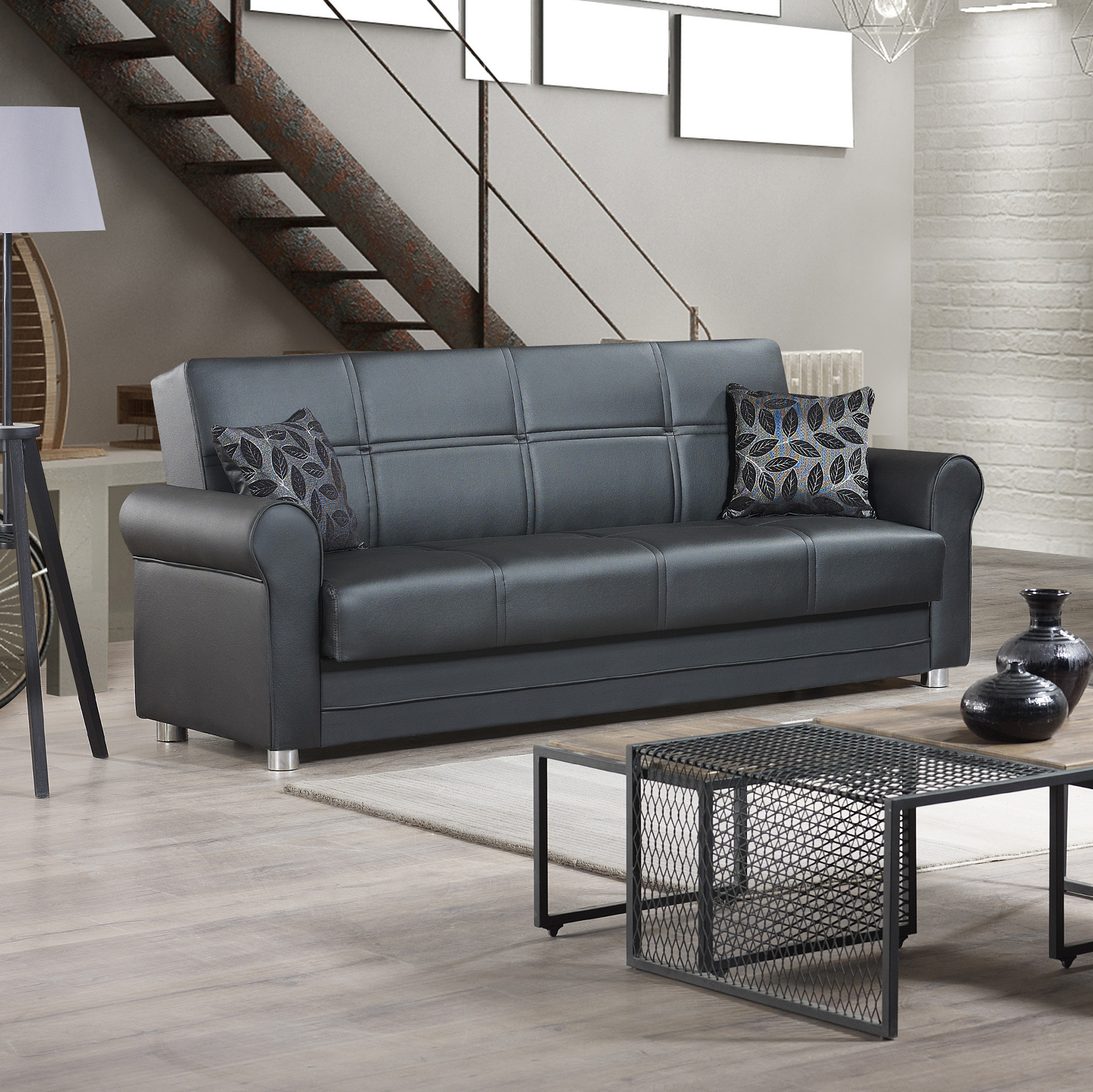Prato Storage Sectional Futon Sofas Inside Best And Newest Ottomanson Avalon Sofa Bed With Storage In Leather (View 2 of 25)