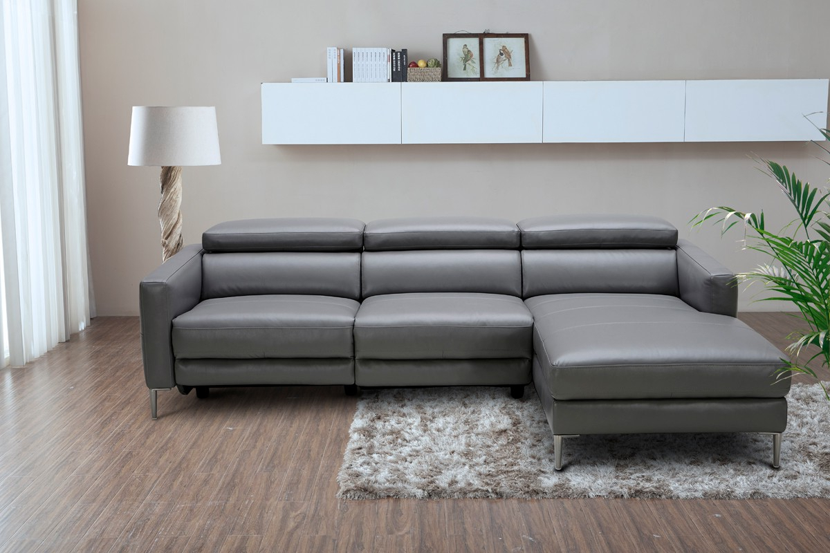 Preferred 2Pc Crowningshield Contemporary Chaise Sofas Light Gray Throughout Divani Casa Booth Modern Dark Grey Leather Sectional Sofa (View 22 of 25)