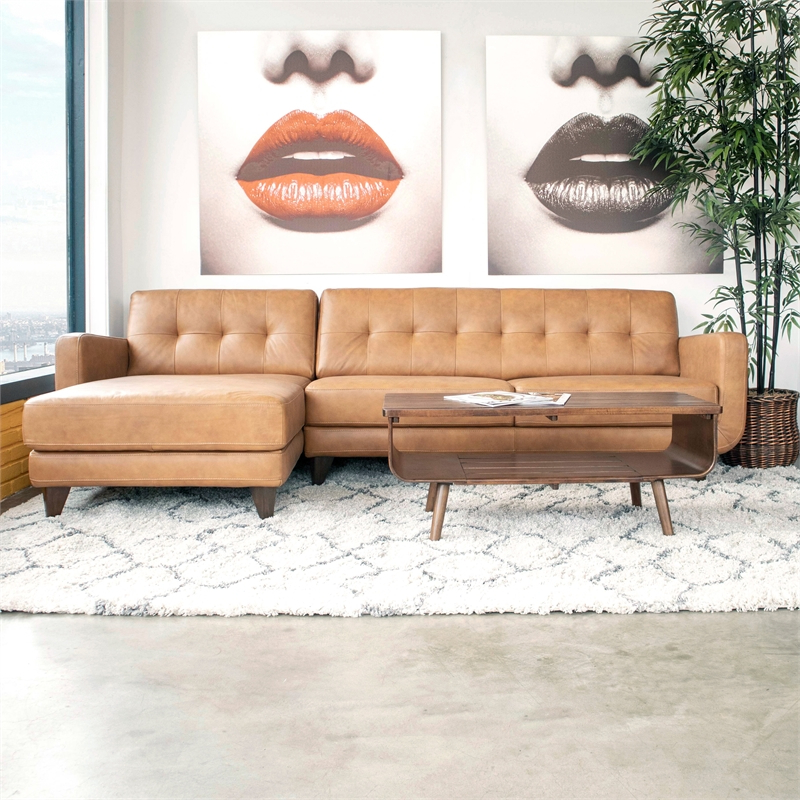 Preferred Alani Mid Century Modern Sectional Sofas With Chaise Throughout Mid Century Modern Davis Tan Genuine Leather Sectional (View 2 of 25)
