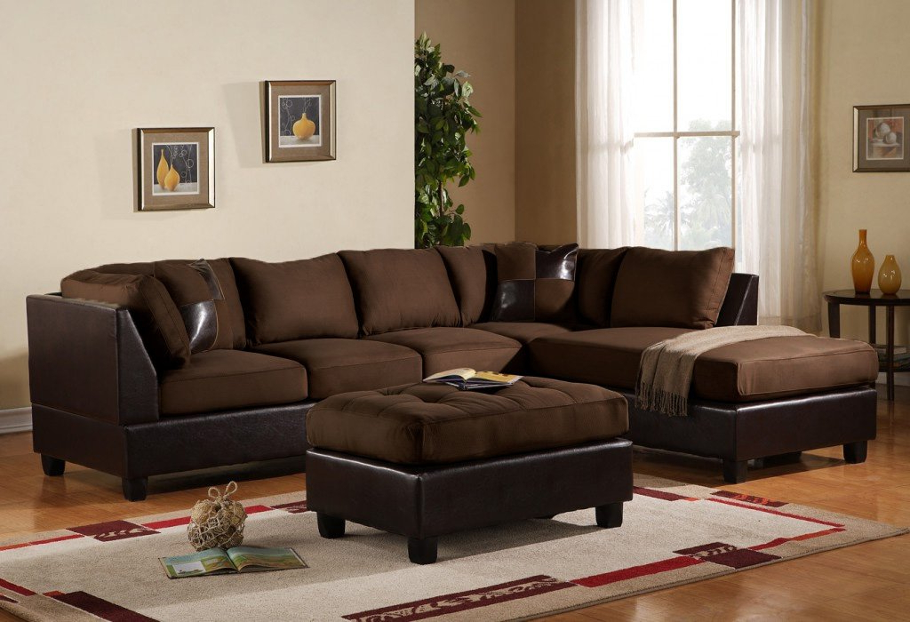 Preferred Buy 3 Piece Modern Microfiber Faux Leather Sectional Sofa For 3Pc Faux Leather Sectional Sofas Brown (View 11 of 25)