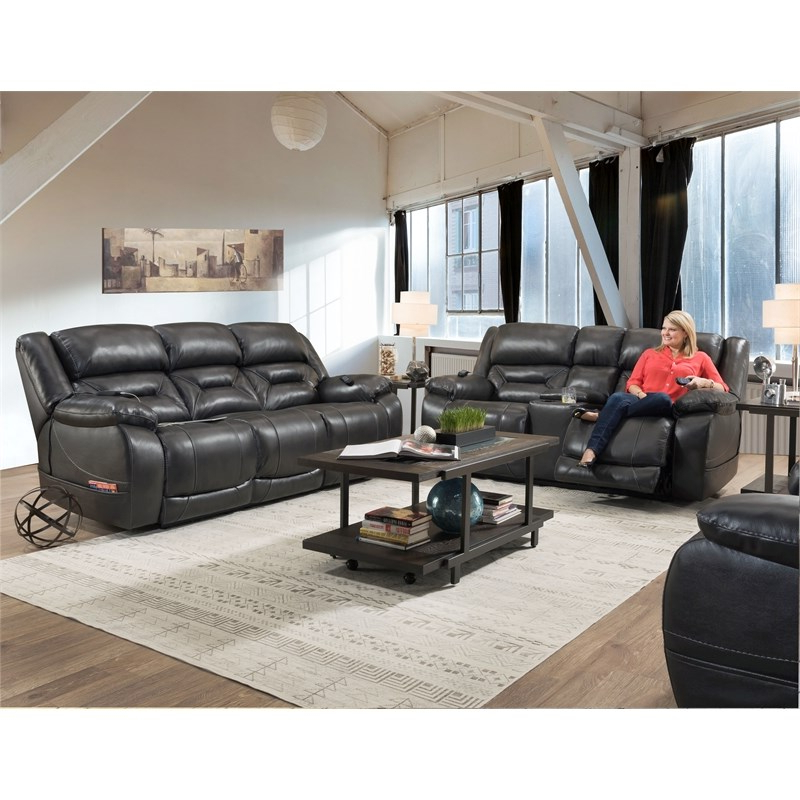 Preferred Charleston Triple Power Reclining Sofas Within Harden Triple Power Sofa Recliner In Gray Leather (View 15 of 15)