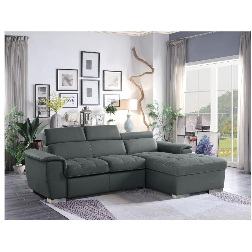 Preferred Copenhagen Reclining Sectional Sofas With Left Storage Chaise Throughout Gray Sectional Sofa With Pullout Sofa Bed And Left Side (View 24 of 25)