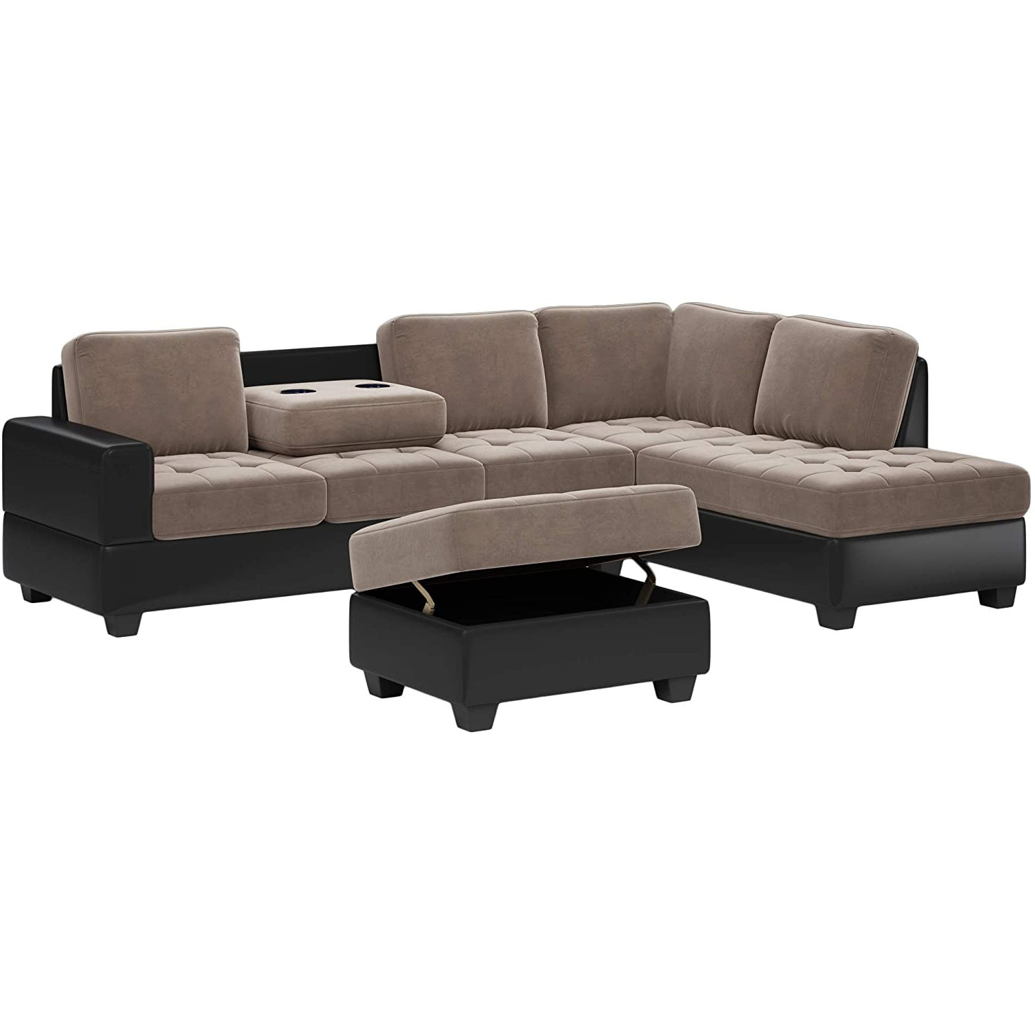 Preferred Copenhagen Reversible Small Space Sectional Sofas With Storage Inside Amazon: Convertible Sectional Sofa, L Shape Couch With (View 19 of 25)