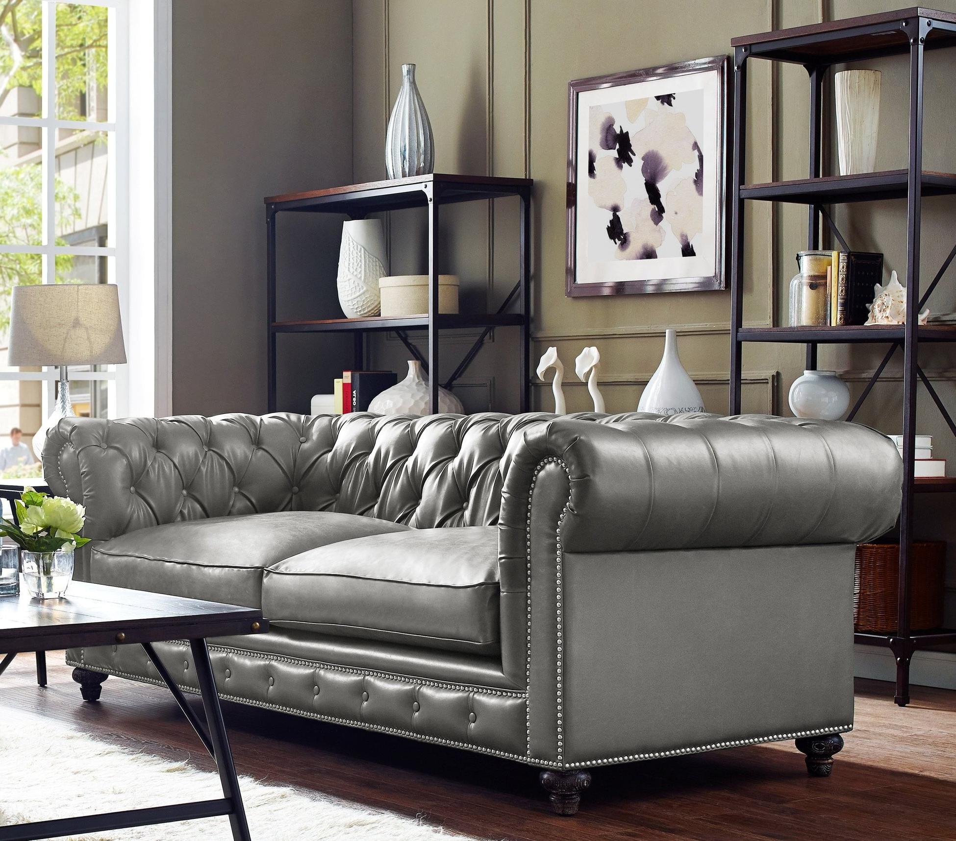 Preferred Durango Rustic Grey Leather Sofa, S98, Tov Furniture In Gray Sofas (View 5 of 15)