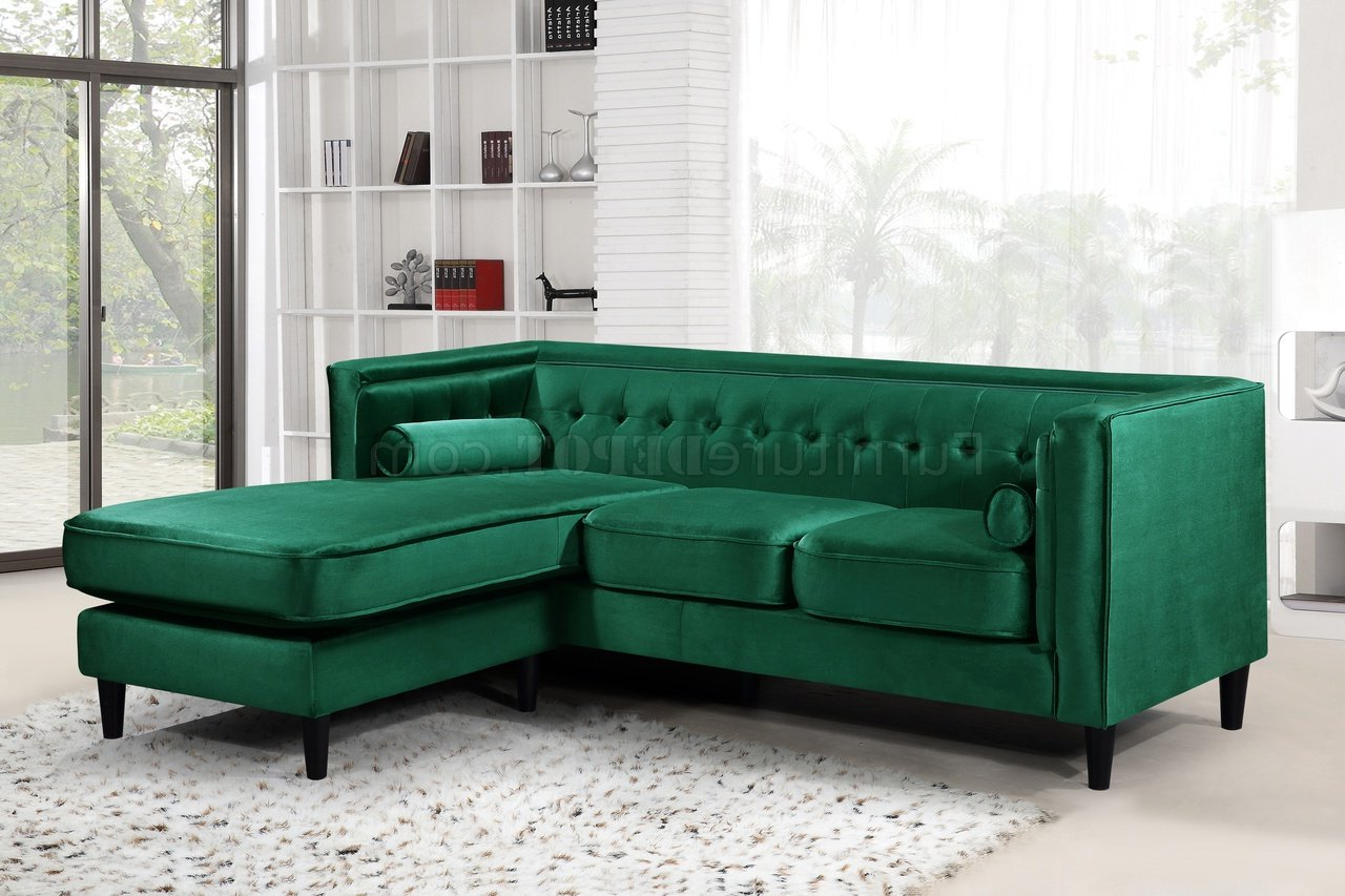 Preferred French Seamed Sectional Sofas In Velvet With Taylor Sectional Sofa 643 In Green Velvet Fabricmeridian (View 5 of 25)