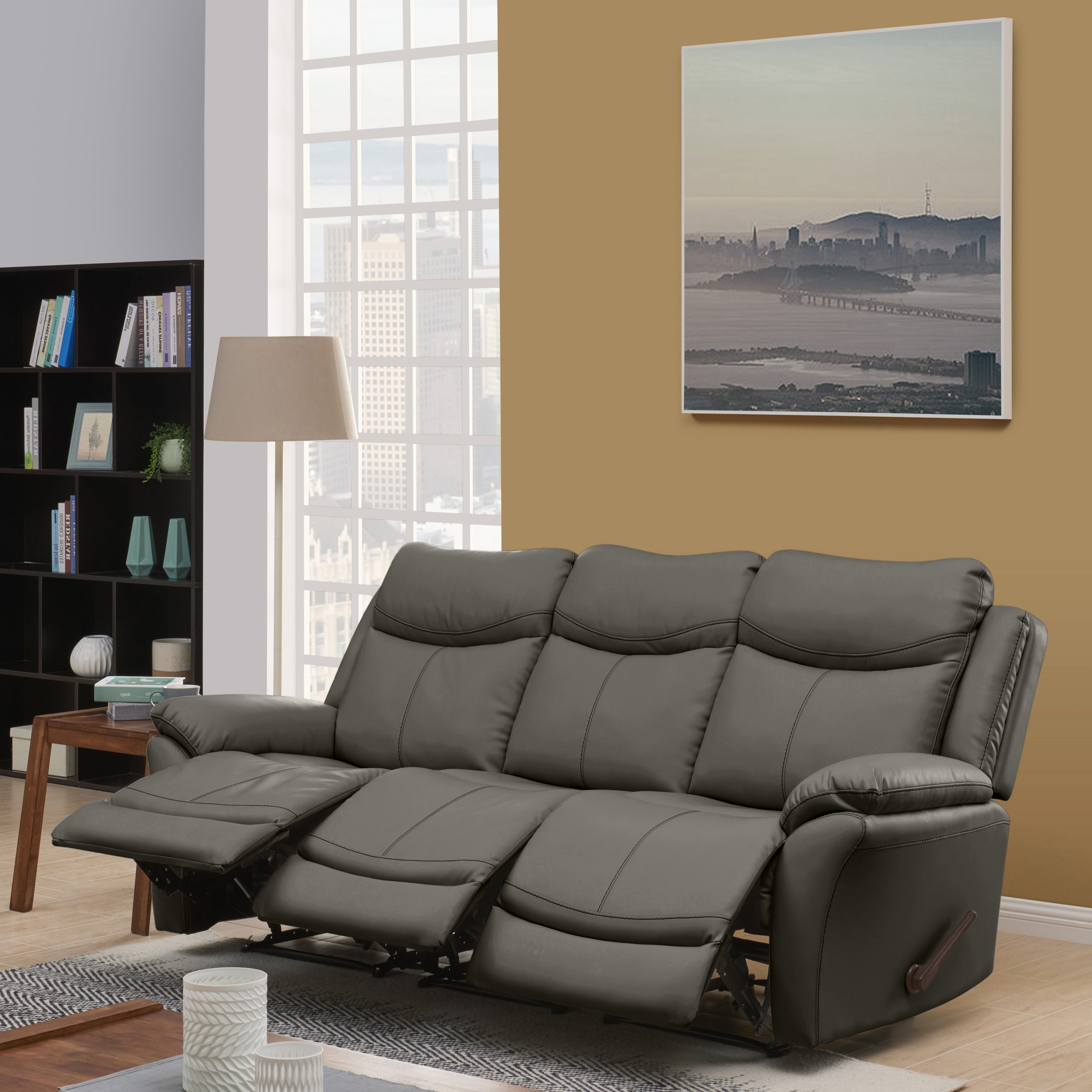 Preferred Gray Reclining Sofas Within Prolounger Wall Hugger Storage Reclining Sofa In Taupe (View 1 of 17)