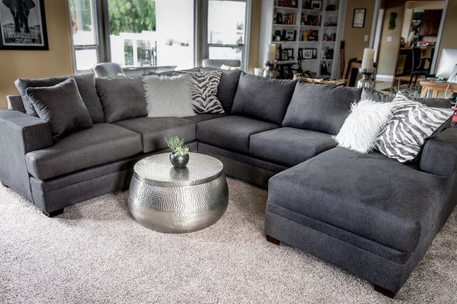 """Preferred Kerri Charcoal 2 Piece 126"""" Sectional With Left Arm Facing Intended For 2Pc Maddox Left Arm Facing Sectional Sofas With Chaise Brown (View 5 of 25)"""