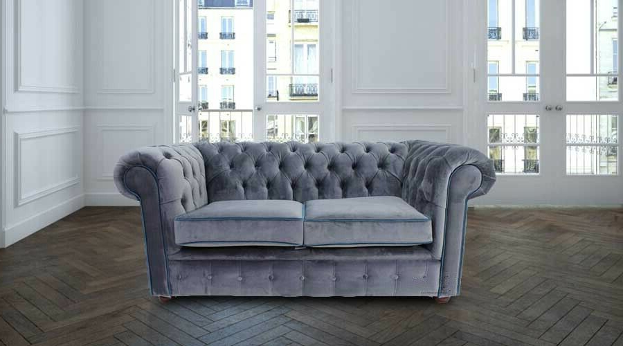 Preferred Molnar Upholstered Sectional Sofas Blue/Gray Pertaining To Chesterfield 2 Seater Malta Grey Velvet Blue Piping Fabric (View 22 of 25)