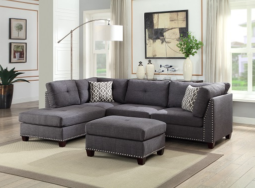 Preferred Noa Sectional Sofas With Ottoman Gray For Grey Studded Linen Sectional Sofa W/ Chaise Lounge And (View 8 of 25)
