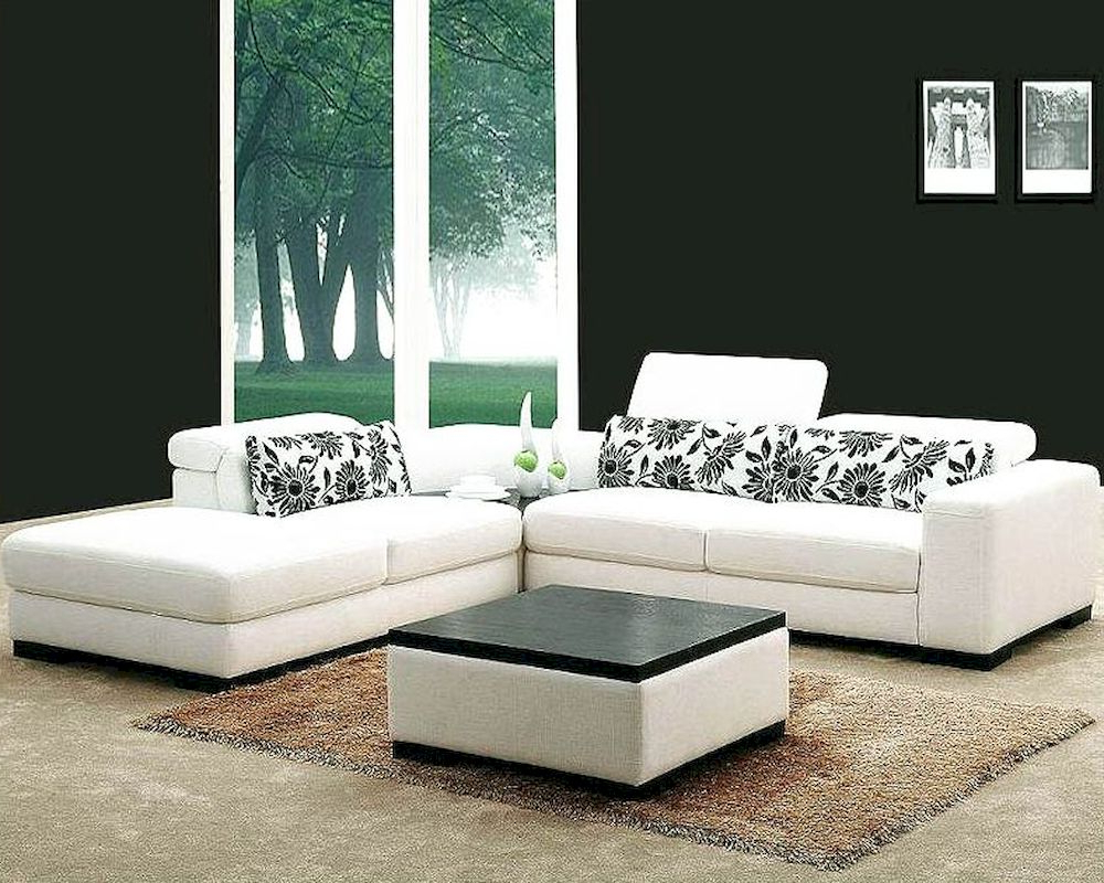 Preferred White Fabric 4Pc Modern Sectional Sofa Set 44L0867 Regarding 4Pc Beckett Contemporary Sectional Sofas And Ottoman Sets (View 16 of 25)
