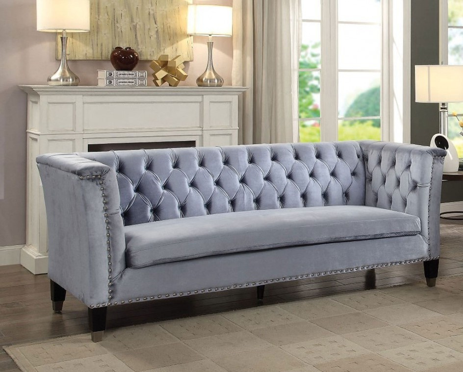 Radcliff Nailhead Trim Sectional Sofas Gray Inside Newest Honor Blue Gray Velvet Sofa With Nailhead Trimacme (View 24 of 25)
