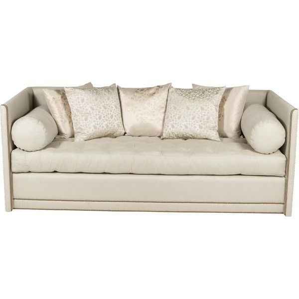 Radcliff Nailhead Trim Sectional Sofas Gray Throughout Well Known Pre Owned Tufted Sofa With Nailhead Trim ($2,995) Liked On (View 2 of 25)