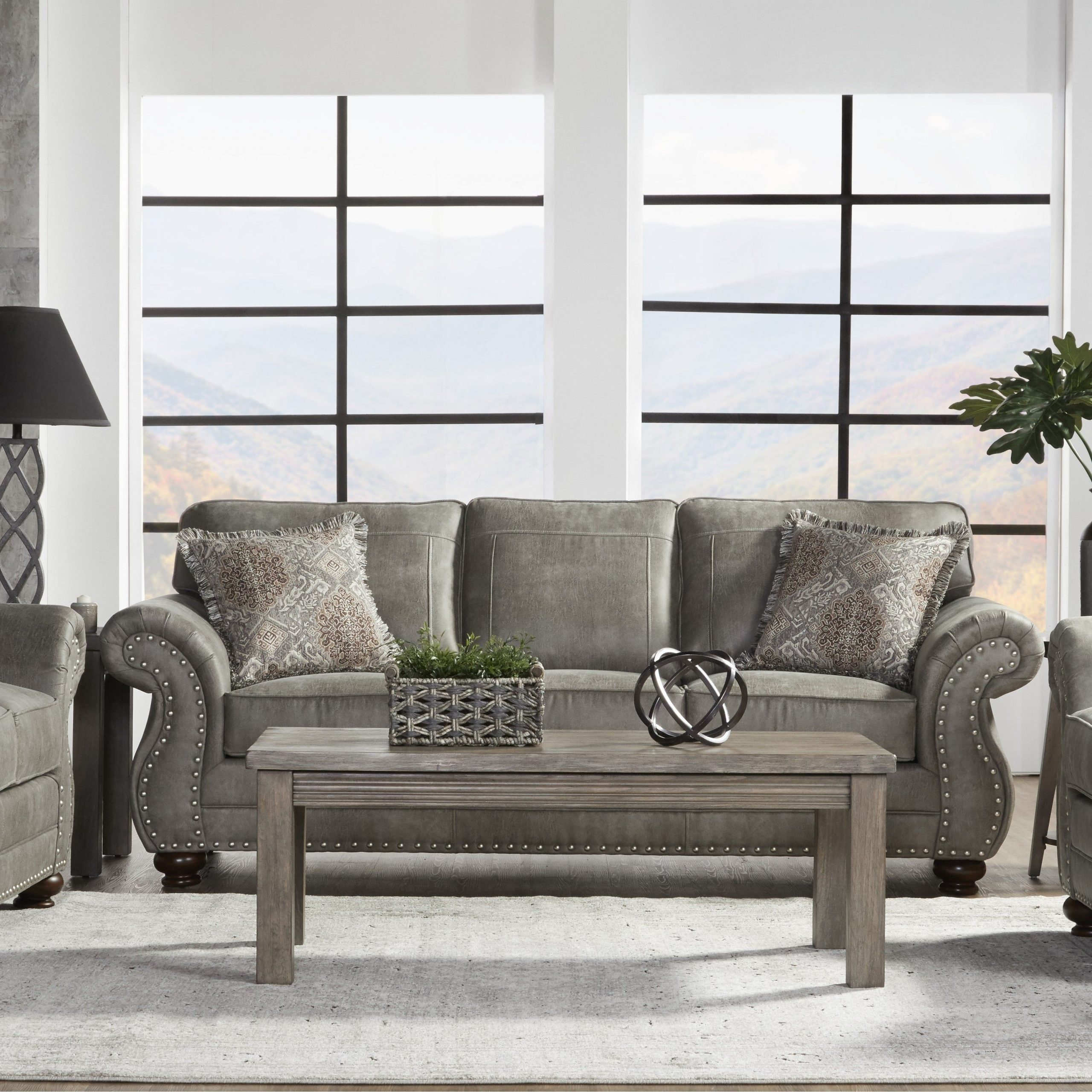 Radcliff Nailhead Trim Sectional Sofas Gray With Regard To Widely Used Leinster Faux Leather Upholstered Nailhead Sofa In Stone (View 23 of 25)