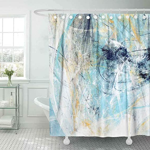 Recent Amazon: Musesh Modern Shower Curtain,Outdoor Shower Pertaining To Camila Poly Blend Sectional Sofas Off White (View 18 of 25)