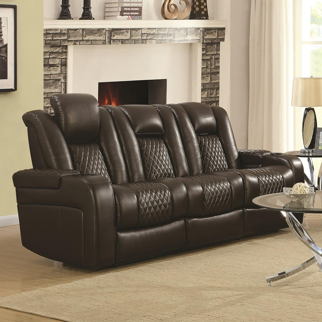 Recent Expedition Brown Power Reclining Sofas With Delangelo Casual Power Reclining Sofa With Cup Holders (View 8 of 15)