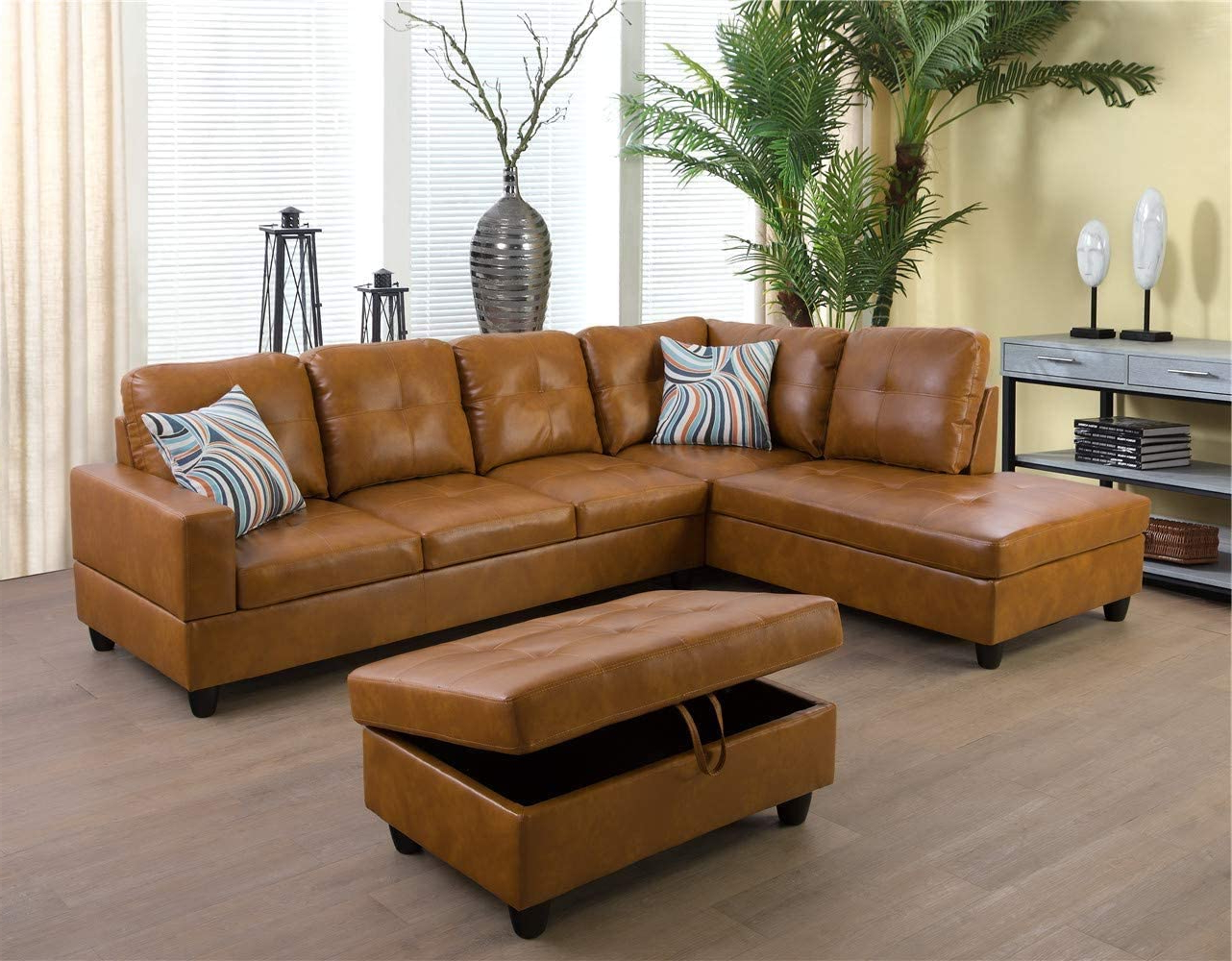 Recent Kiefer Right Facing Sectional Sofas For Ponliving Furniture Caramel  (View 2 of 25)