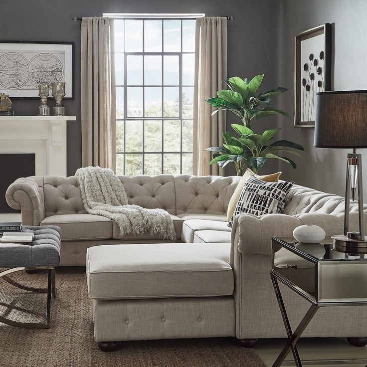 Recent Knightsbridge Tufted Chesterfield U Shape Sectional With Inside Artisan Beige Sofas (View 3 of 15)