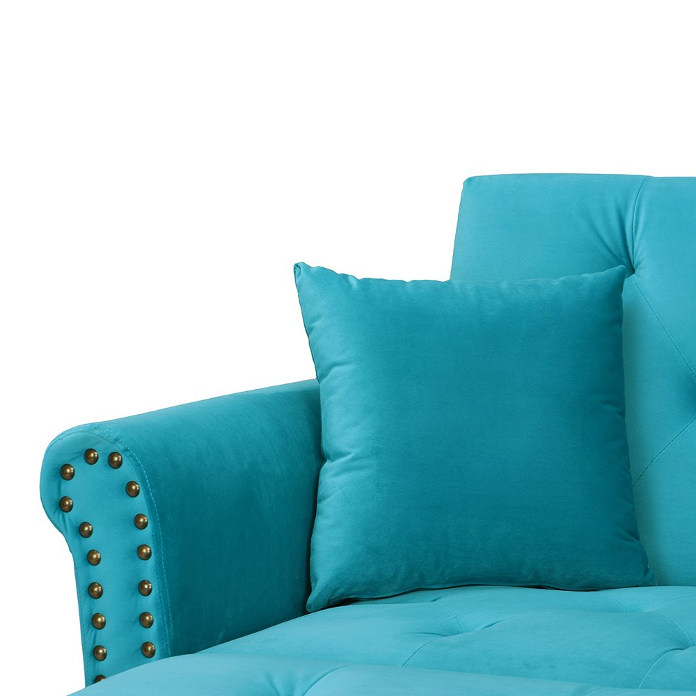 Recent Modern Sky Blue Chaise Futon Sofa Chaise Lounge Tufted Within Dulce Mid Century Chaise Sofas Dark Blue (View 22 of 25)