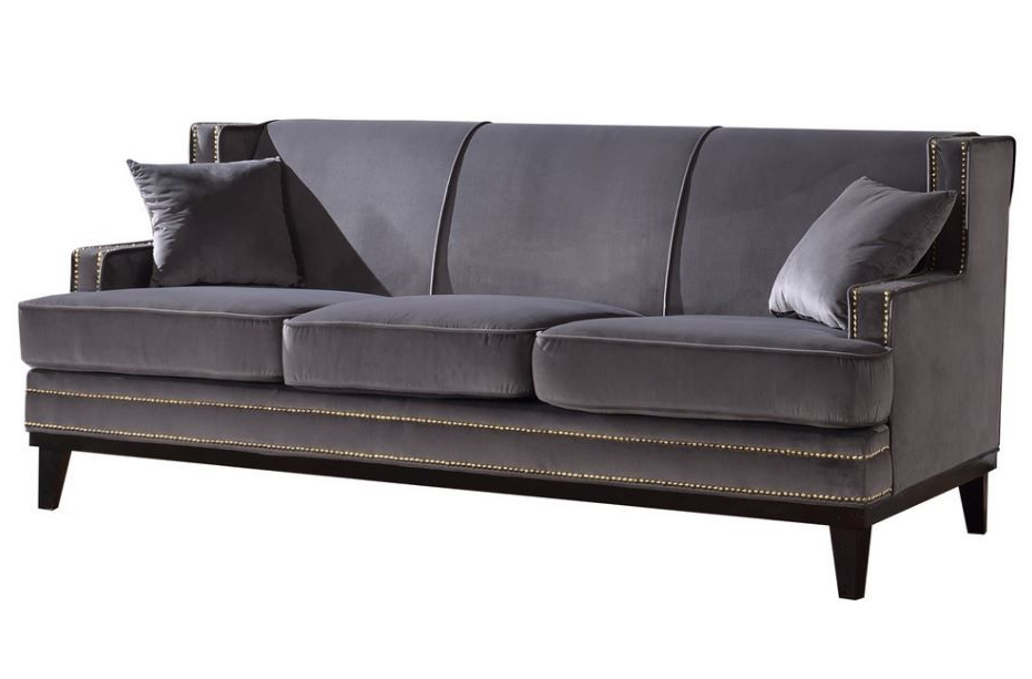 Recent Radcliff Nailhead Trim Sectional Sofas Gray With Regard To Ugenia Velvet Sofa With Nailhead Trim In Grey From Divano (View 11 of 25)