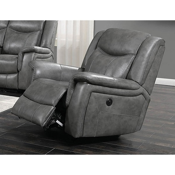 Recent Shop Encino Light Grey Faux Leather Power Glider Recliner In Colby Manual Reclining Sofas (View 9 of 15)