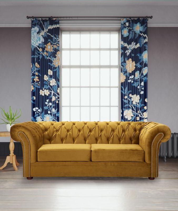 Recent Velvet Fabric Chesterfield Mustard Gold 3 Seater Nelson Sofa Pertaining To Strummer Velvet Sectional Sofas (View 20 of 25)