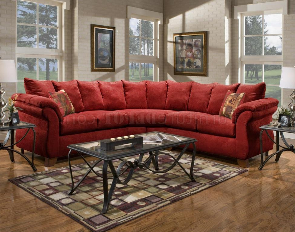 Red Sofas Inside Popular Red Fabric Modern 2Pc Sectional Sofa W/Wooden Legs (View 9 of 15)