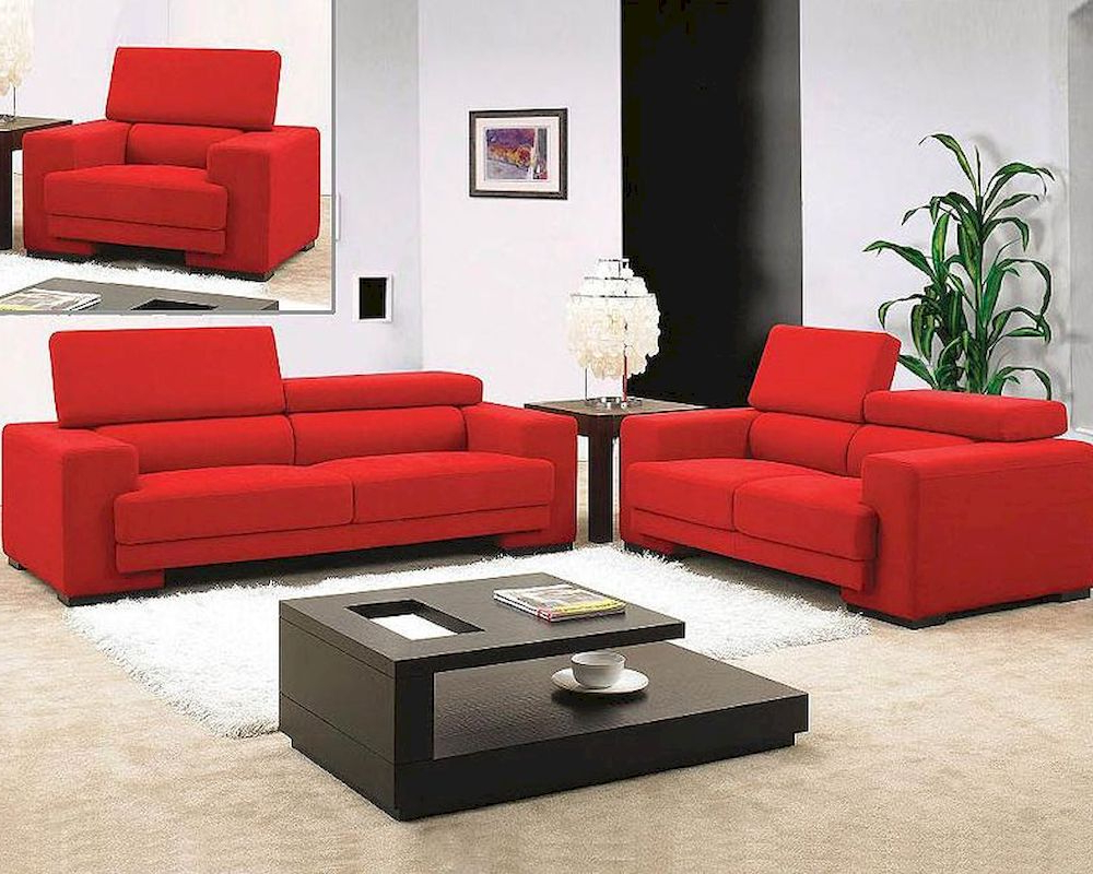 Red Sofas Throughout Well Known Red Fabric Sofa Set 44L (View 5 of 15)