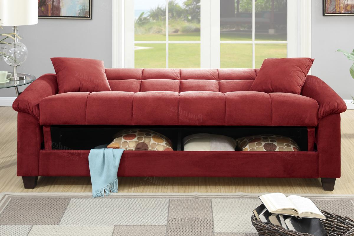 Red Sofas With Popular Poundex Gertrude F7890 Red Fabric Sofa Bed – Steal A Sofa (View 3 of 15)