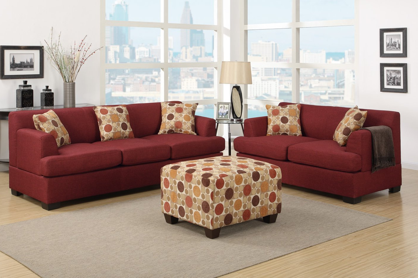 Red Sofas Within Most Recent Poundex Montreal Iv F7963 Red Fabric Sofa – Steal A Sofa (View 13 of 15)