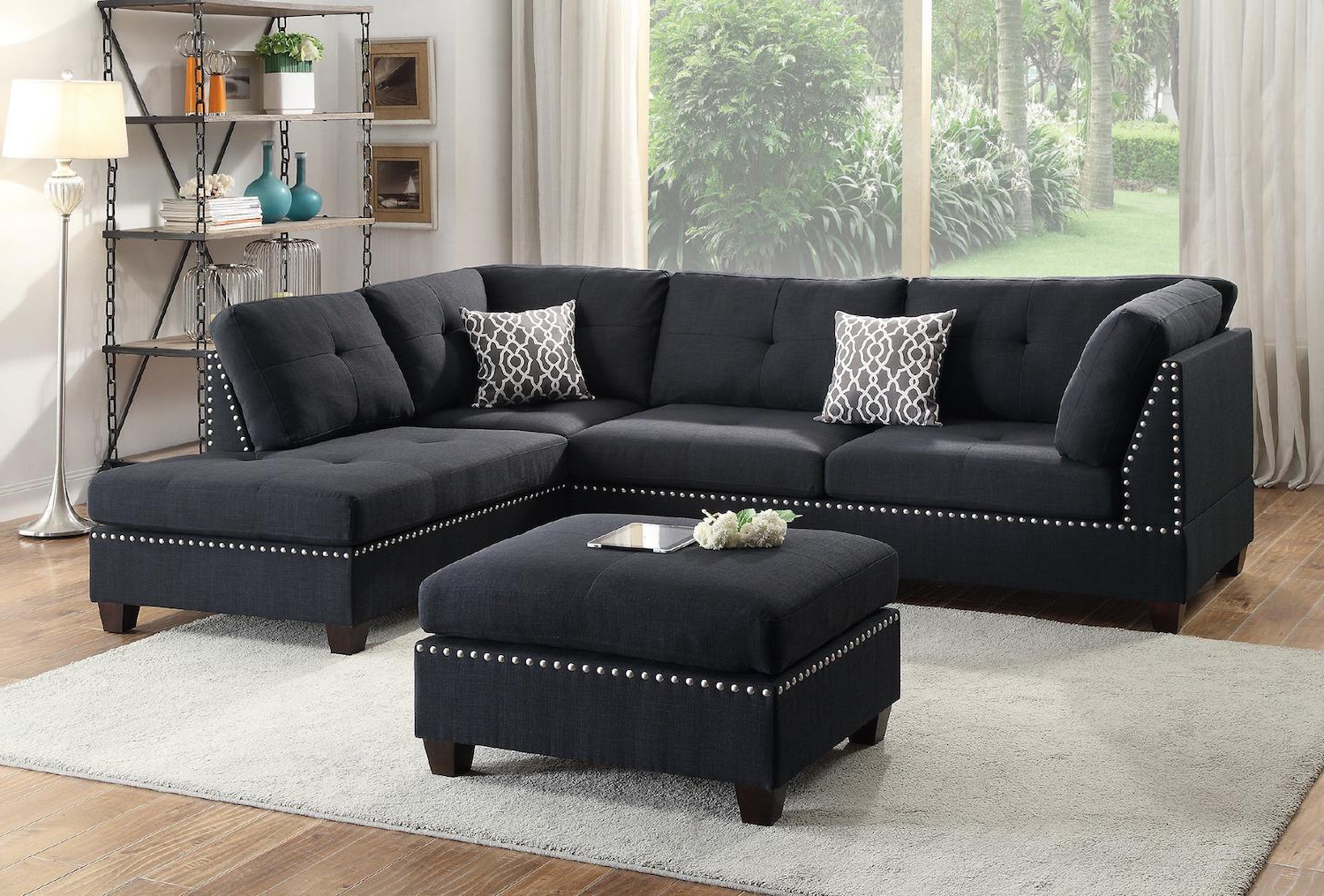 Reversible Sectional Sofas Reversible Espresso Leather Pertaining To Most Up To Date Felton Modern Style Pullout Sleeper Sofas Black (View 6 of 25)