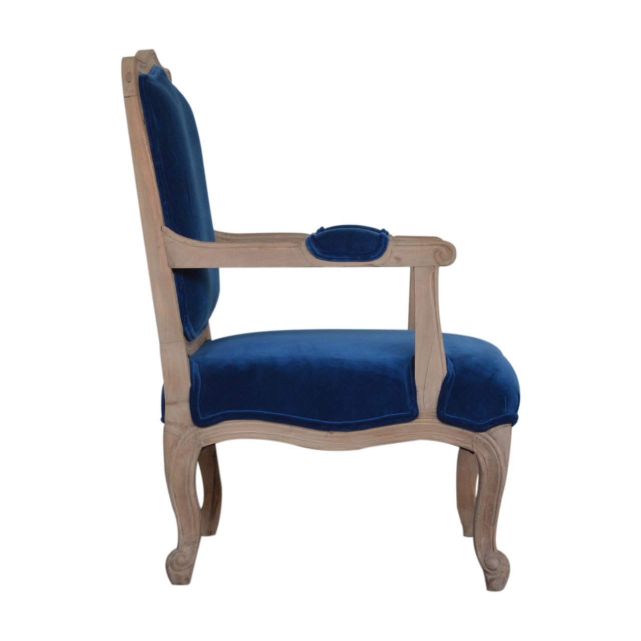 Royal Blue Velvet French Style Chair – Artisan Furniture In Most Recently Released Artisan Blue Sofas (View 6 of 15)