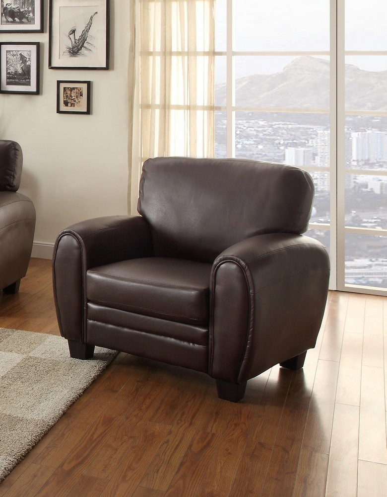 Rubin 3 Pc Dark Brown Bonded Leather Match Sofa Set Regarding Well Known 3Pc Bonded Leather Upholstered Wooden Sectional Sofas Brown (View 2 of 25)