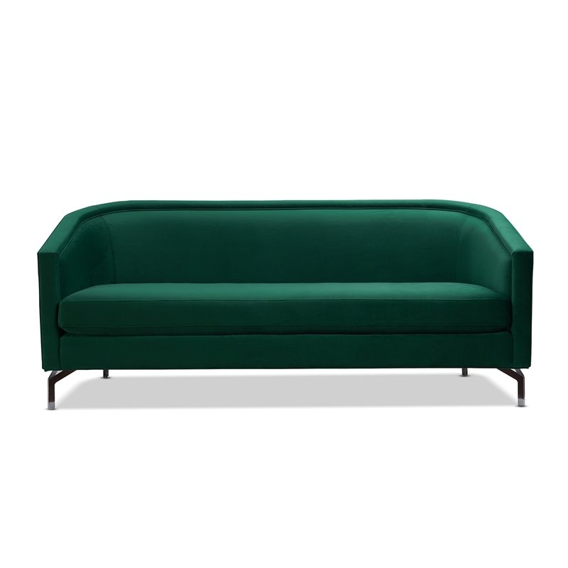 Sandy Wilson Home Annette Modern Sofa With Polished Metal For Recent Annette Navy Sofas (View 3 of 15)