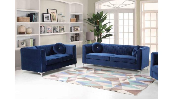 Scarlett Blue Sofas Throughout Most Popular Modern Blue Sofa Meridian Furniture 663 Scarlett Modern (View 8 of 15)