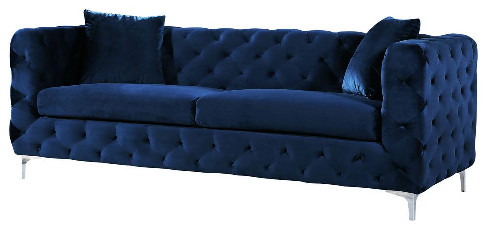 Scarlett Cream Velvet Sofa – Contemporary – Sofas – Within Recent Scarlett Blue Sofas (View 11 of 15)