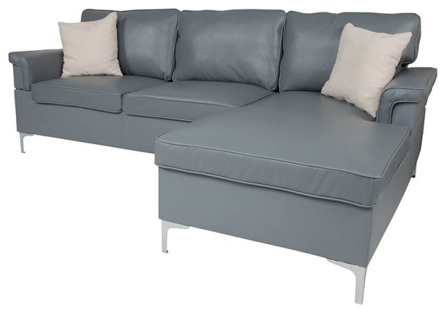 Sectional With Left Side Facing Chaise In Gray Inside Preferred Element Right Side Chaise Sectional Sofas In Dark Gray Linen And Walnut Legs (View 12 of 25)