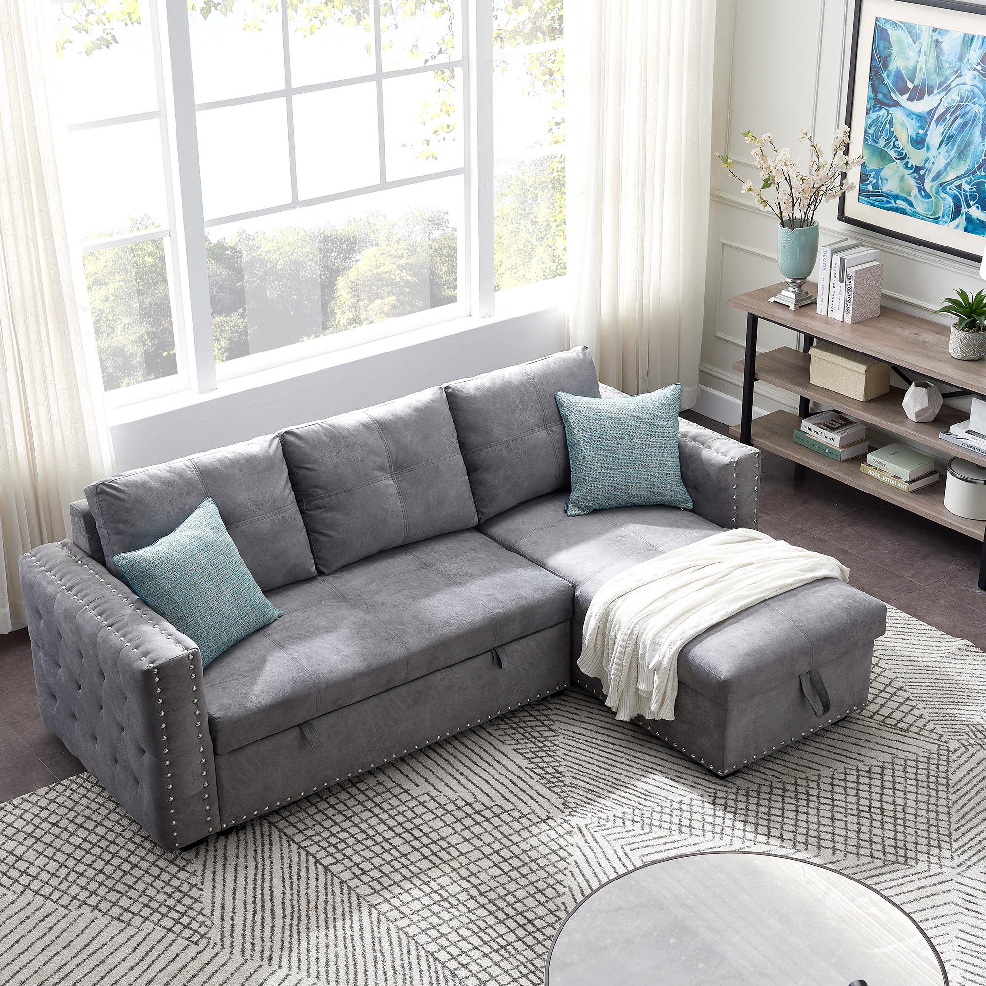 Segmart Sectional Sofas, Modern Upholstered Sofa With Within Most Popular Palisades Reversible Small Space Sectional Sofas With Storage (View 1 of 25)