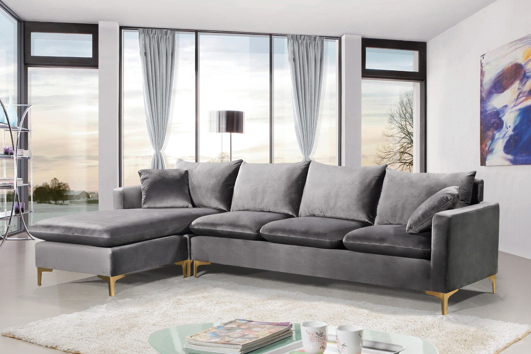 Selene Contemporary Plush Grey Velvet Sectional Sofa With Intended For Newest Noa Sectional Sofas With Ottoman Gray (View 16 of 25)