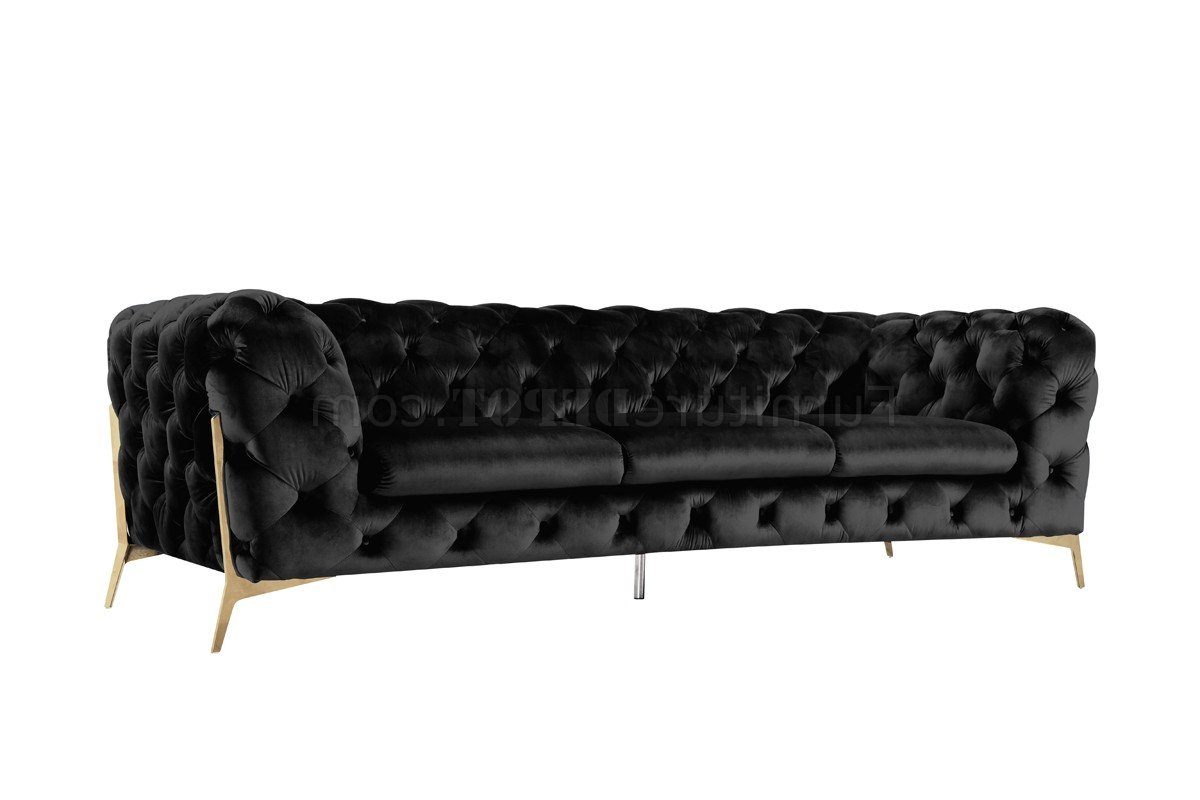 Sheila Sofa Set 3Pc In Black Velvet Fabricvig Intended For Best And Newest 3Pc French Seamed Sectional Sofas Velvet Black (View 17 of 25)