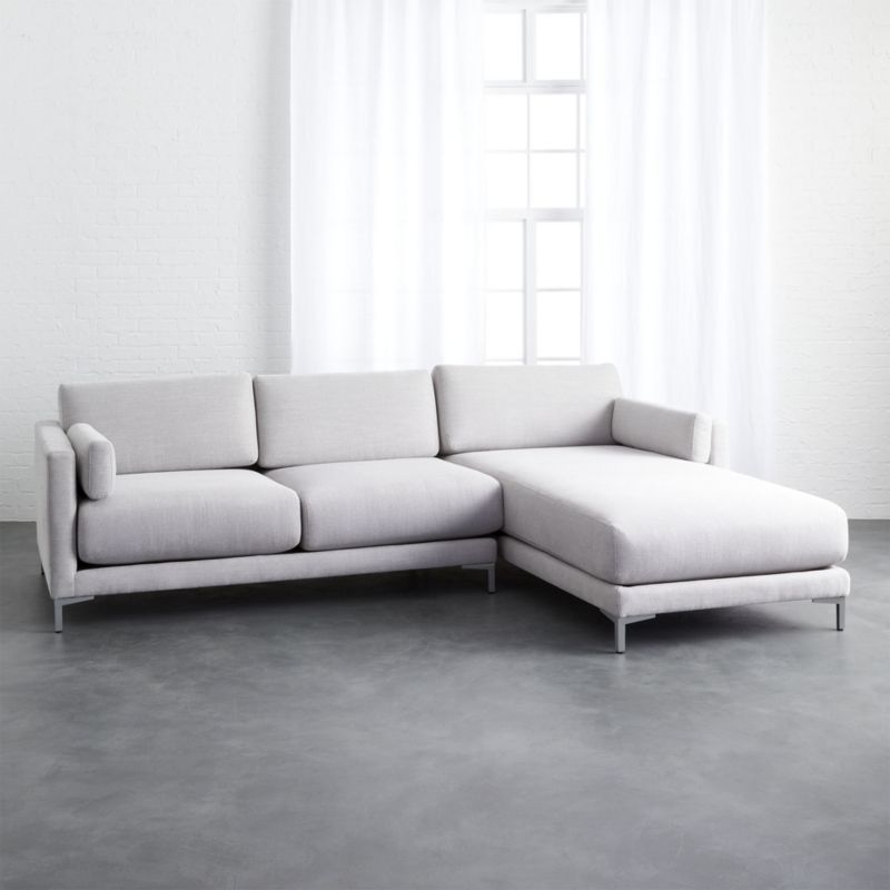 Shop District 2 Piece Grey Microfiber Sectional Sofa With Regard To Fashionable 2Pc Maddox Left Arm Facing Sectional Sofas With Chaise Brown (View 9 of 25)