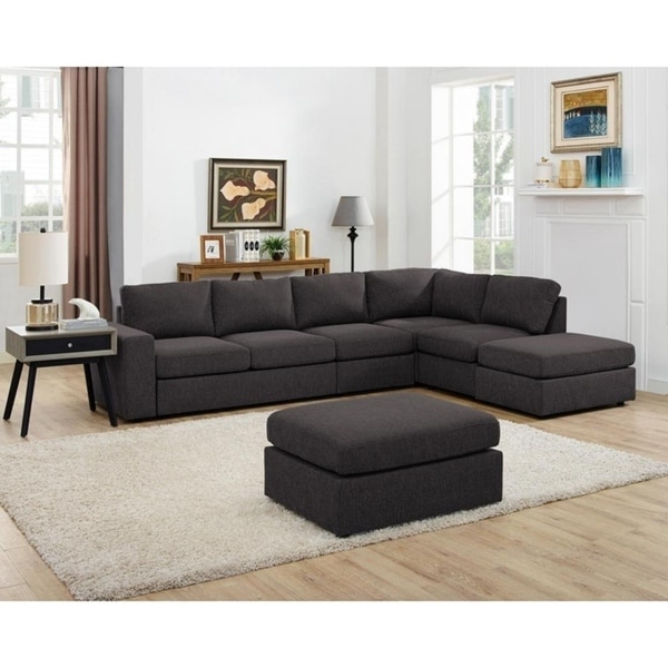 Shop Lilola Cassia Modular Sectional Sofa With Ottoman In Throughout Most Recent Element Right Side Chaise Sectional Sofas In Dark Gray Linen And Walnut Legs (View 19 of 25)