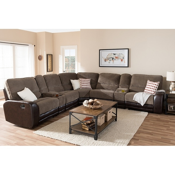 Shop Richmond 7Pcs Taupe Fabric/Brown Faux Leather Two Throughout Latest 3Pc Faux Leather Sectional Sofas Brown (View 16 of 25)