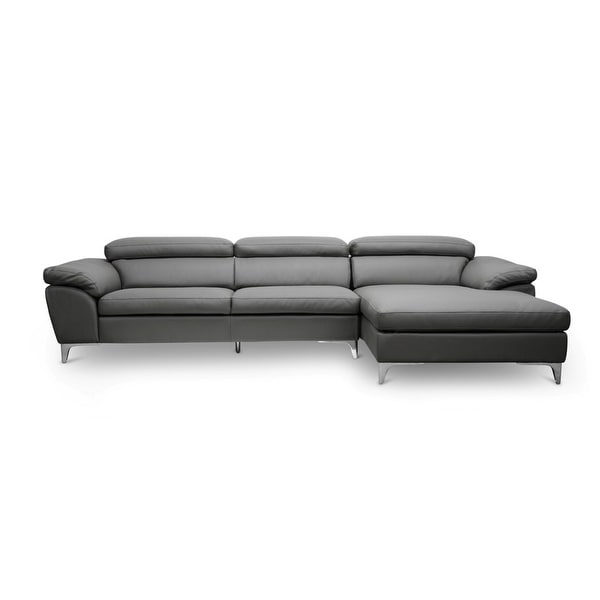Shop Voight Grey Faux Leather Sectional Sofa W/Chrome With Well Known Element Right Side Chaise Sectional Sofas In Dark Gray Linen And Walnut Legs (View 22 of 25)
