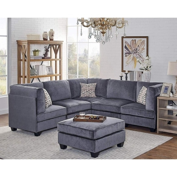 Shop Zelmira Gray Velvet 6Pc Modular Sectional Sofa Throughout Most Current French Seamed Sectional Sofas In Velvet (View 9 of 25)