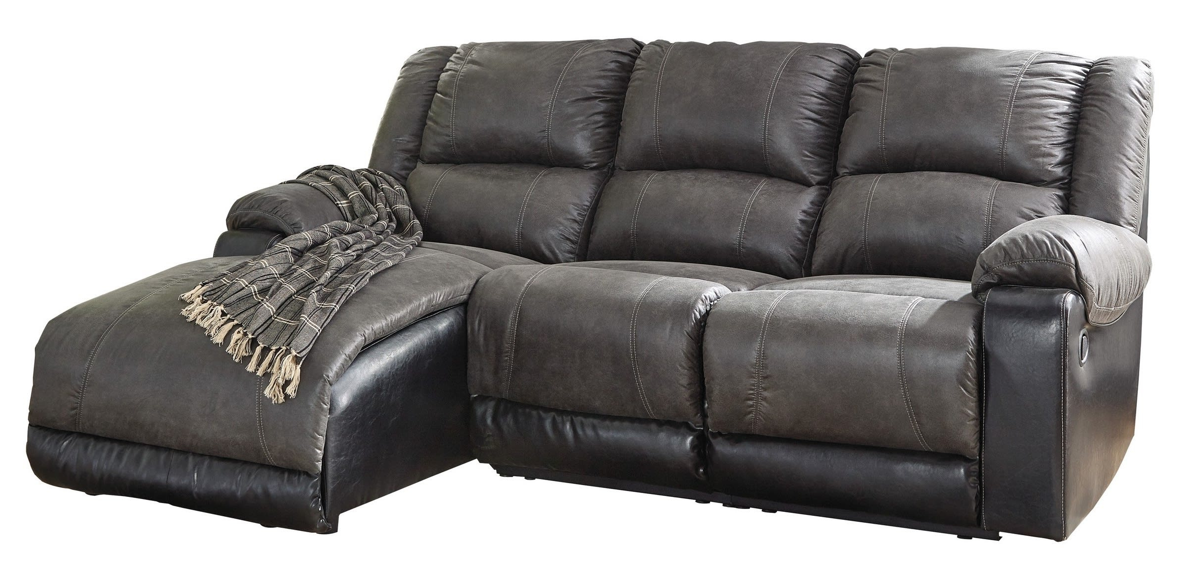 Signature Designashley Nantahala Slate 3 Piece Right Regarding Most Recently Released Dulce Right Sectional Sofas Twill Stone (View 16 of 25)