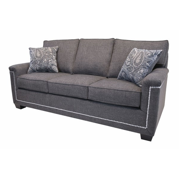 Simone Grey Fabric Sofa With Nailhead Trim – Overstock With Most Recent 2Pc Polyfiber Sectional Sofas With Nailhead Trims Gray (View 9 of 25)