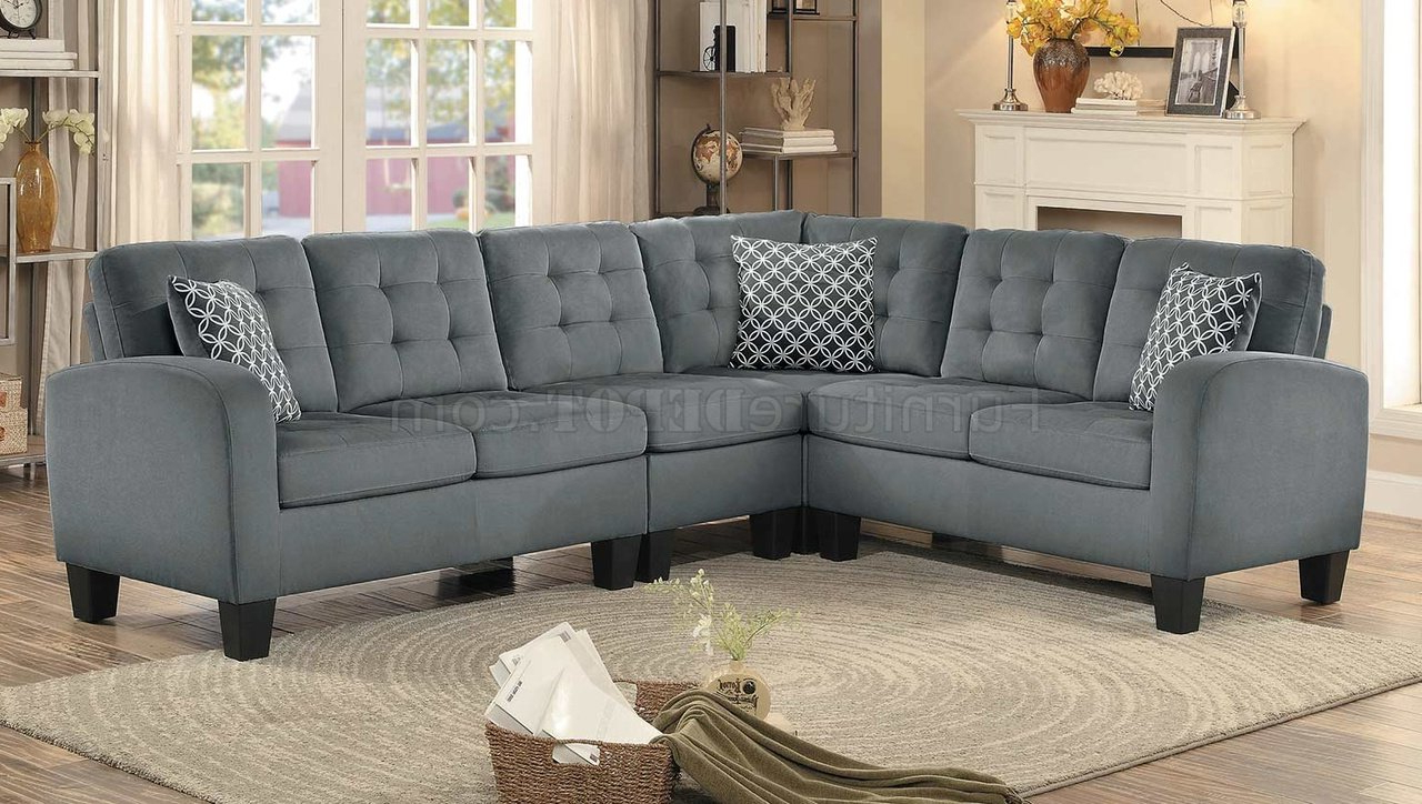 Sinclair Sectional Sofa 8202Gry Sc In Grey Fabric Inside Best And Newest Noa Sectional Sofas With Ottoman Gray (View 12 of 25)