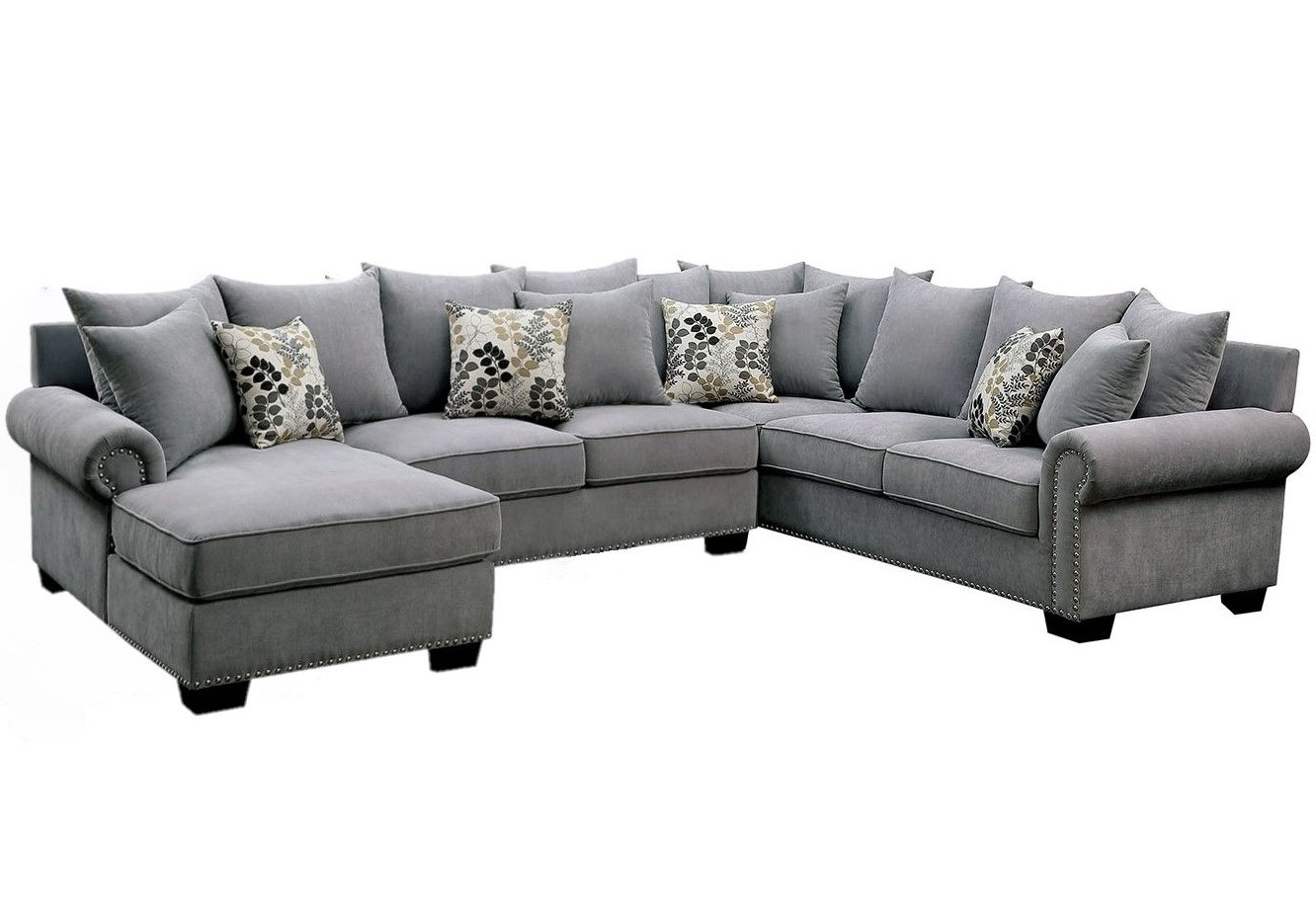 Skyler Ii Transitional Gray Fabric Upholstered Sectional Inside Recent 2Pc Polyfiber Sectional Sofas With Nailhead Trims Gray (View 10 of 25)
